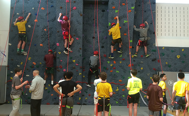 wellness at Haverford indoor climbing wall